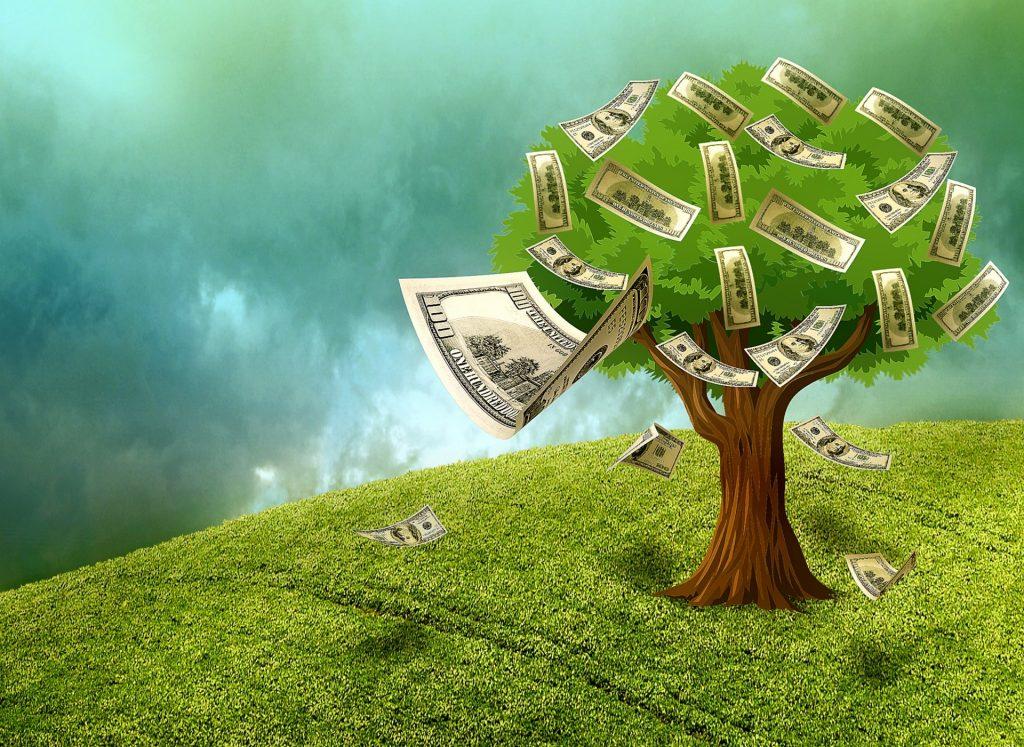 Geldscheine, die am Baum wachsen